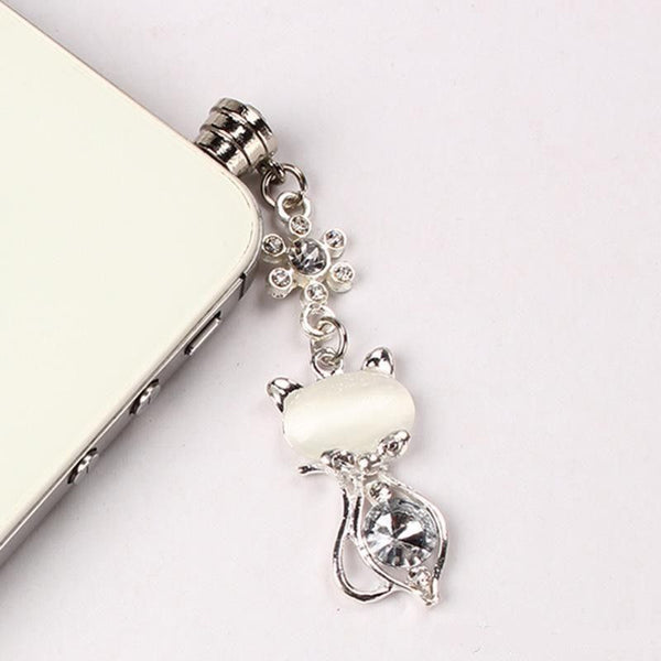Very Cute Crystal Cat Anti Dust decorative Plug, Mobilephone Cap for all Mobilephones - Sweety Cats Boutique - 2