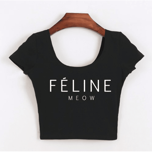 Féline Meow Black Crop Top - Sweety Cats Boutique - 2