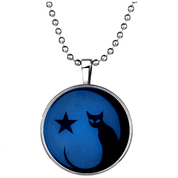 Glow in the Dark Star and Cat pendant Necklace - Sweety Cats Boutique - 1