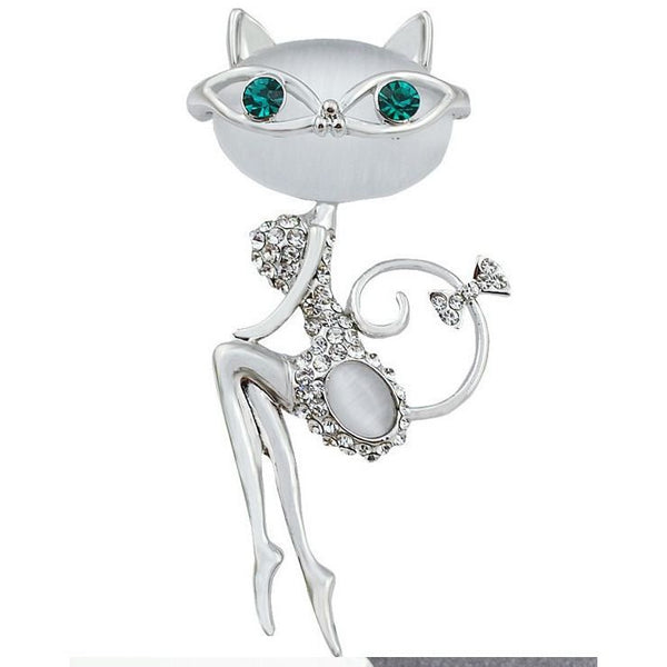 Opale and Rhinestones Cat Brooch - Sweety Cats Boutique - 1