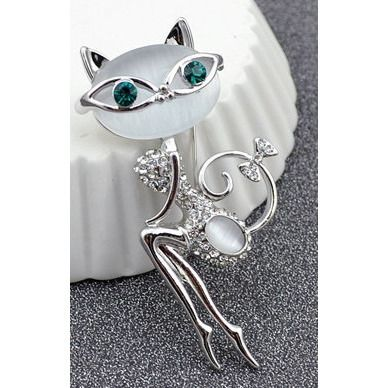 Opale and Rhinestones Cat Brooch - Sweety Cats Boutique - 2