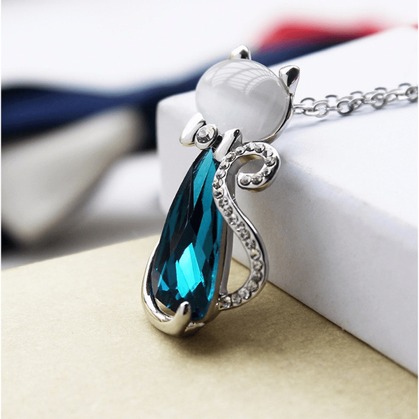 Ocean Blue Crystal Cat Pendant - Sweety Cats Boutique - 2