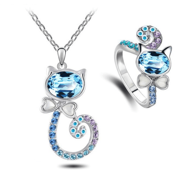 Cat Crystal Necklace and Ring set