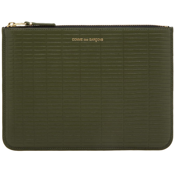 Comme De Garcons Brick Leather Pouch Khaki @ Hero Shop