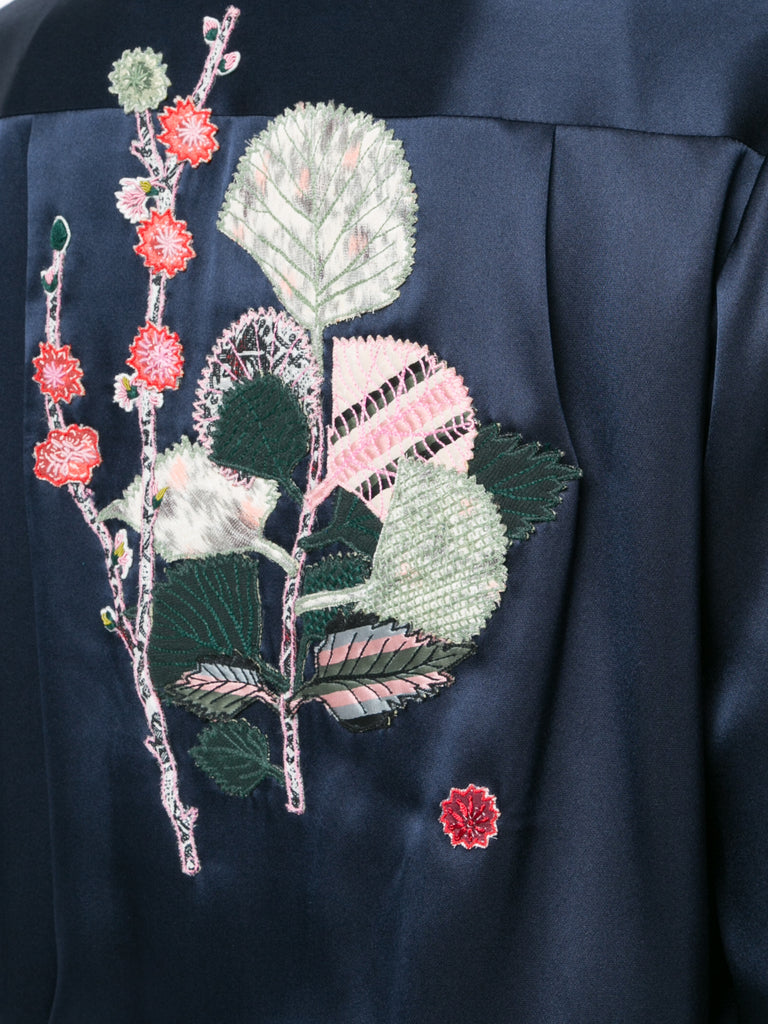 Silk Bomber w Floral Applique