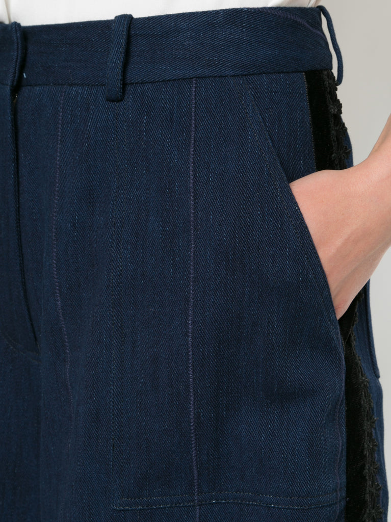 Corded Denim Cropped Cargo Pant