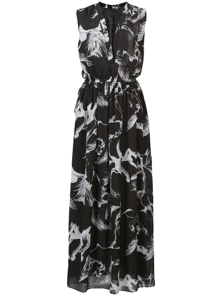 Printed Pebble Chiffon Midi Dress