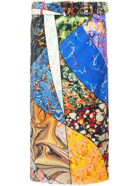 Belted Pencil Skirt - Multi Marble