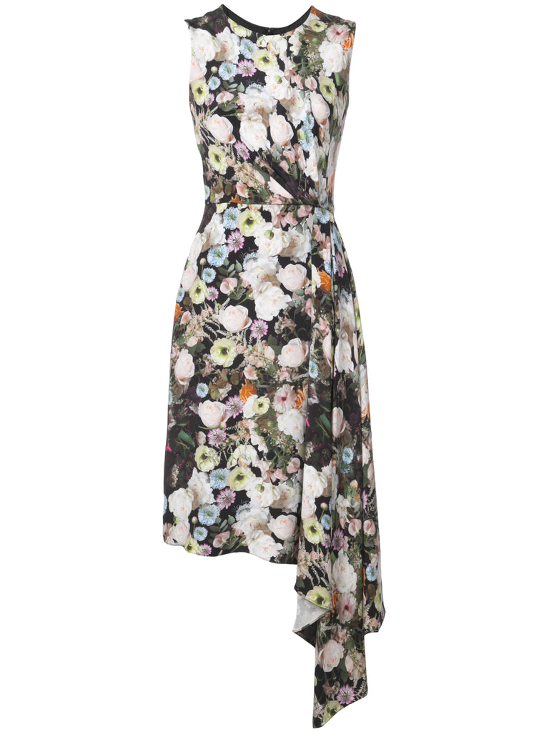 Adam Lippes Floral Printed Silk Crepe Crewneck Dress w Side Drape