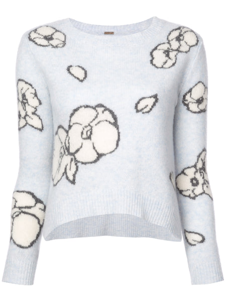 Adam Lippes Brushed Cashmere Floral Intarsia Knit