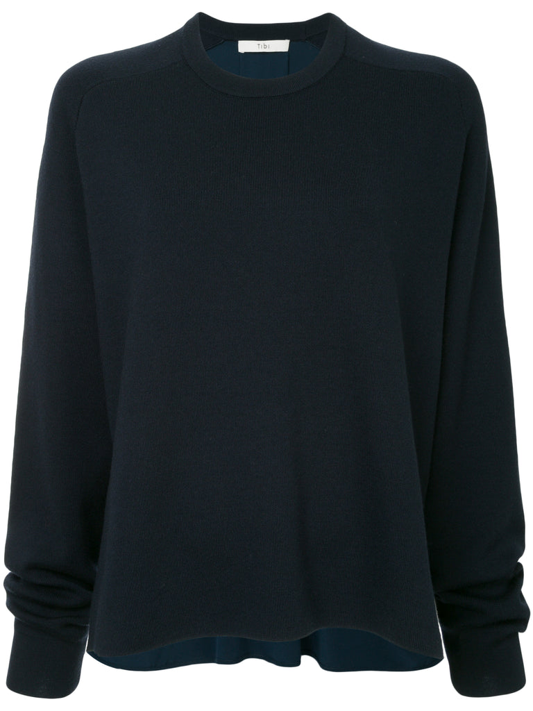Tibi Mockrib Sweater Silk Back Crewneck