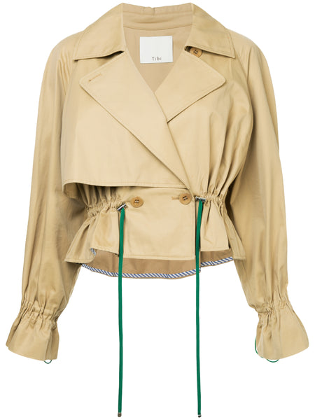 Tibi Finn Twill Cropped Trench