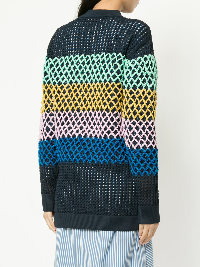 Tibi Stripe Crochet Oversized Sweater