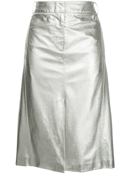 Tech Leather Silver Skirt