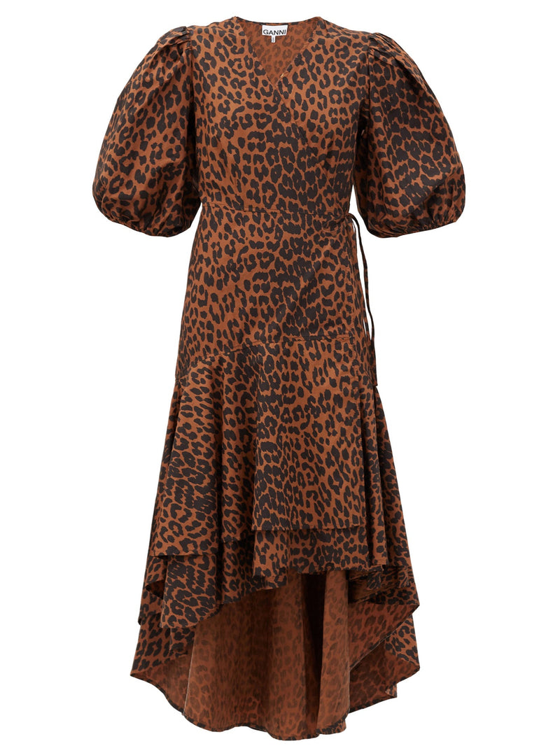 Ganni Cotton Poplin Wrap Dress - Leopard @ Hero Shop