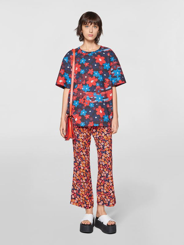 Marni Crop Flare Pants - Red Floral