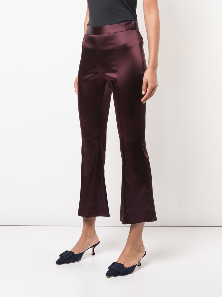 Rosetta Getty Maroon Cropped Flare Pant
