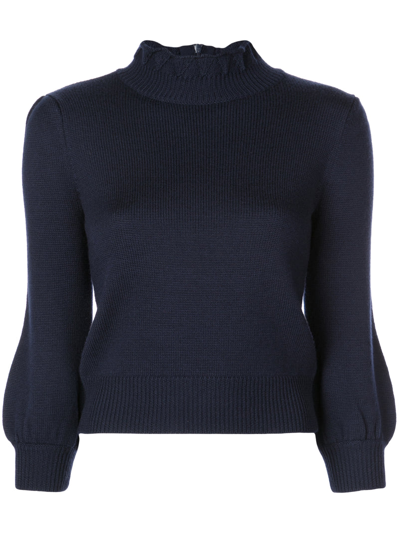 Co. High Collar Peasant Sleeve Sweater - Navy @ Hero Shop SF