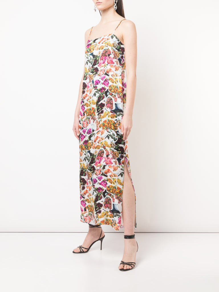 Adam Lippes Printed Satin Chiffon Cami Dress