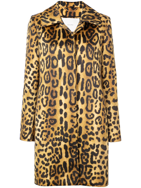 Adam Lippes Duchess Satin Animal Print Car Coat San Francisco