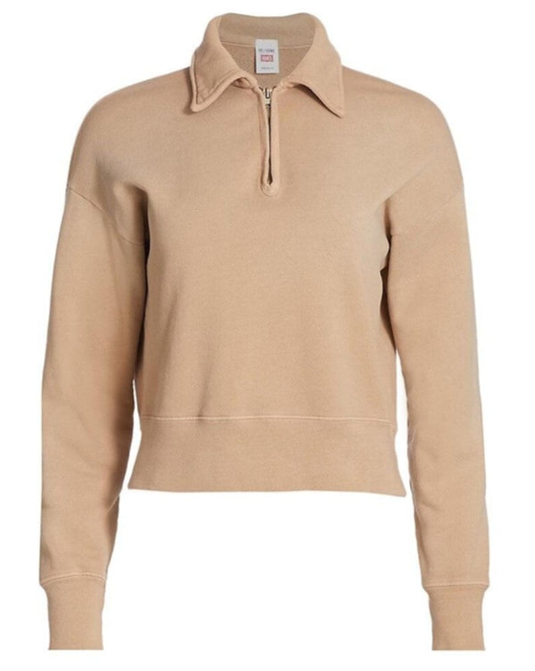 RE/DONE 70s Half Zip Sweatshirt- Khaki @ Hero Shop