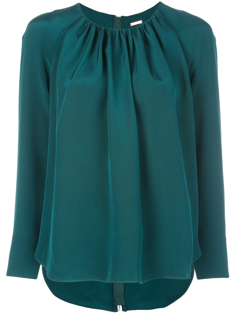 Adam Lippes Silk Crepe Blouse w Zip Back
