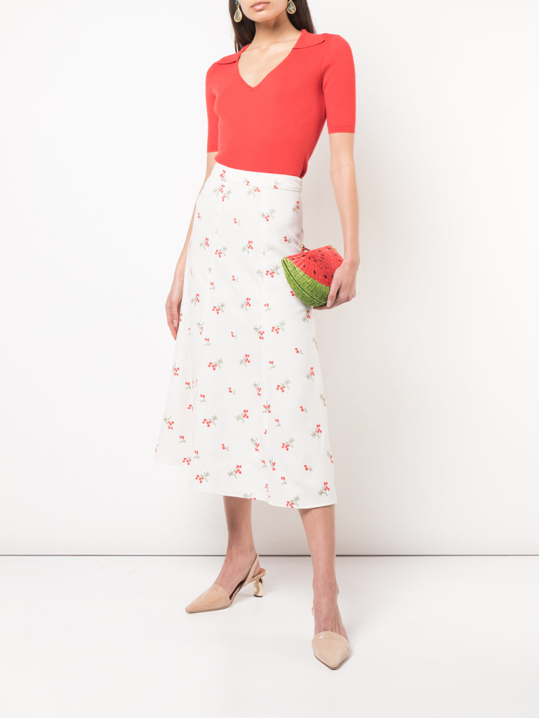 Co. Embroidered Floral Trumpet Skirt