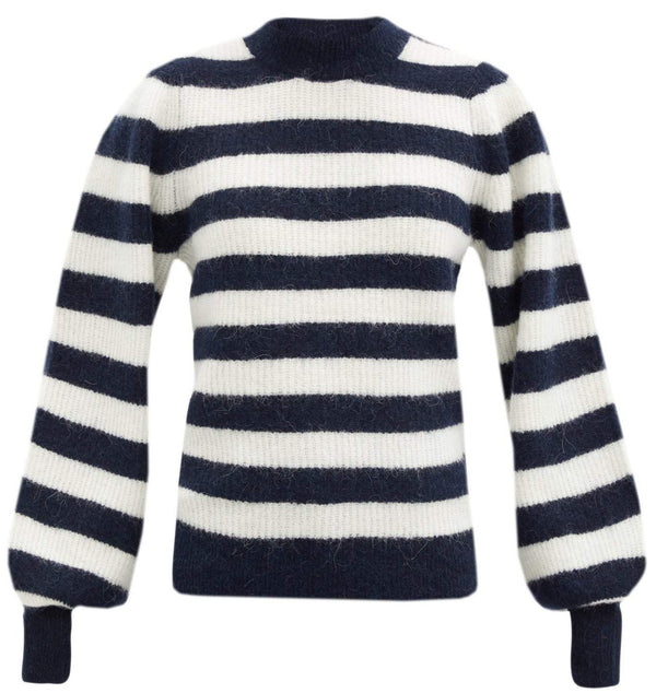 Ganni Soft Wool Knit Stripe Crewneck - Navy @ Hero Shop