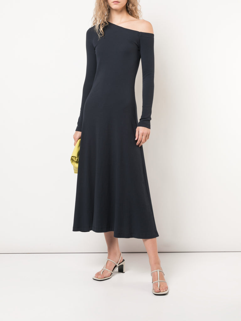 Rosetta Getty Off Shoulder Knit Jersey Flare Dress