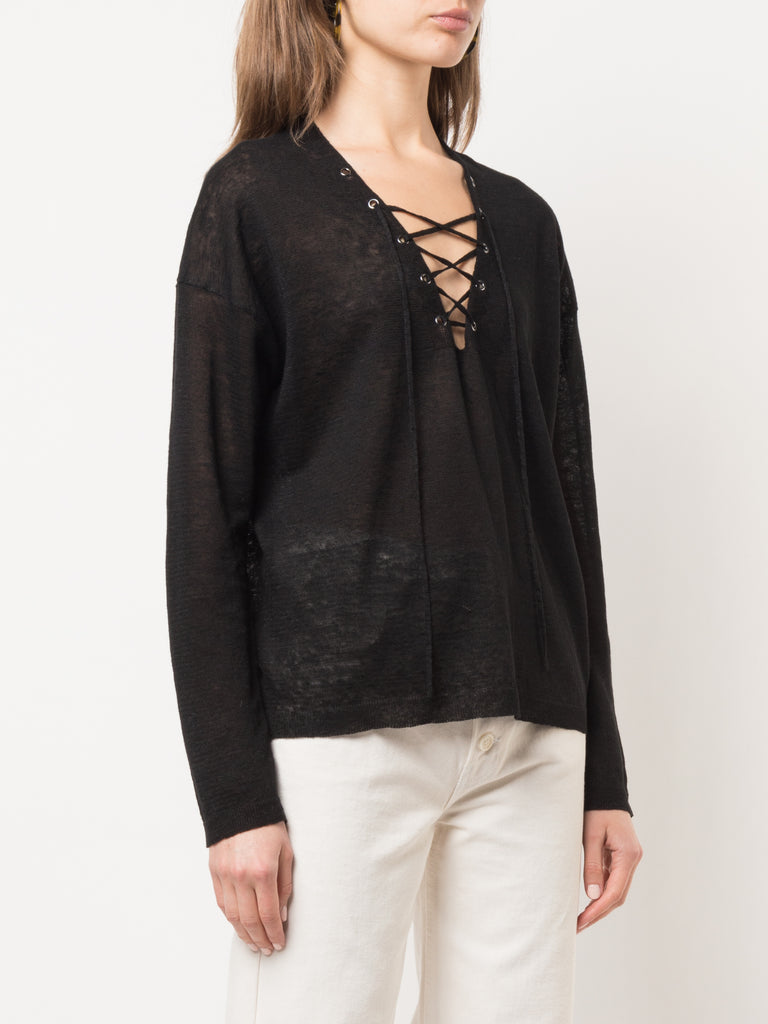 Nili Lotan Lace Up Arabella Sweater