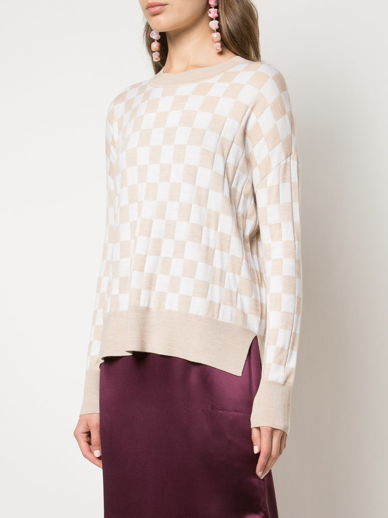 Adam Lippes Checkerboard Knit Sweater