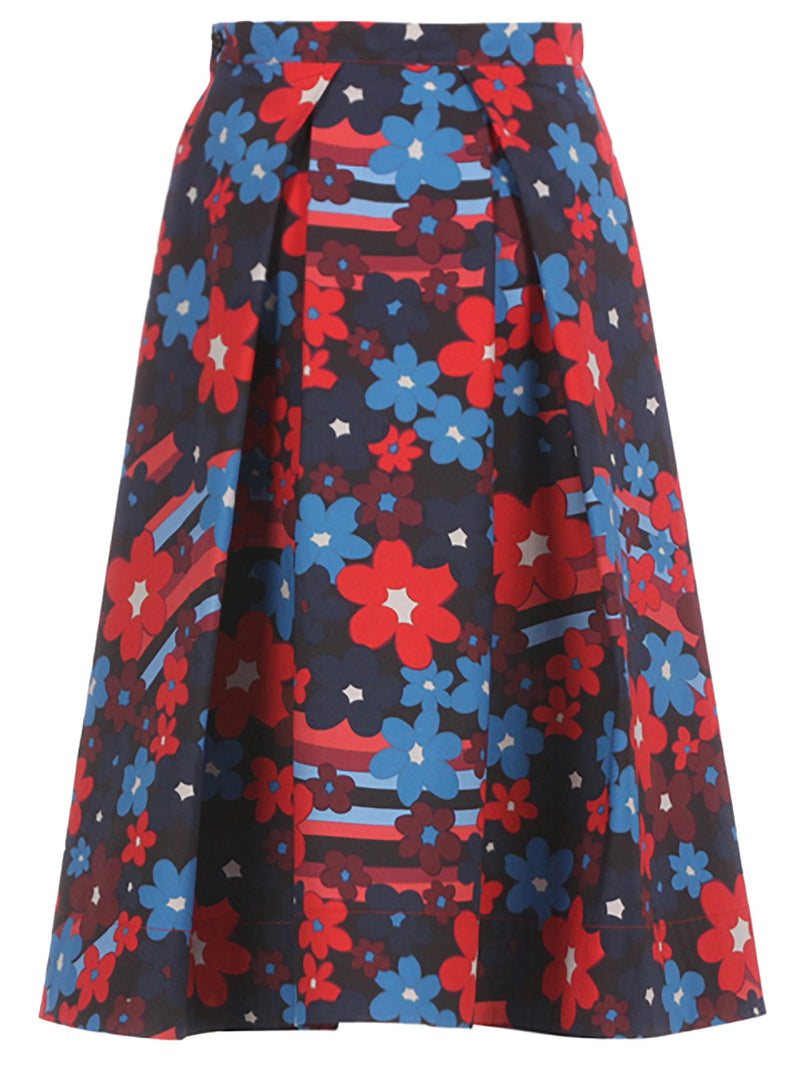 Cotton Pleated Floral Skirt