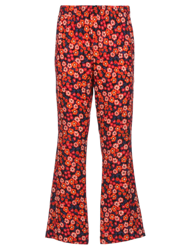 Crop Flare Pants - Red Floral
