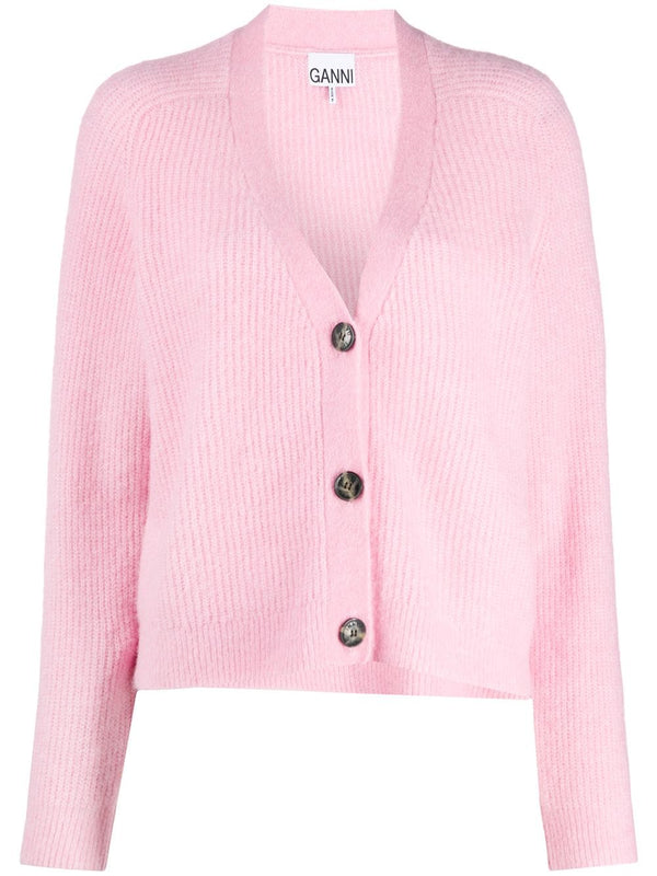 Ganni Soft Wool Knit Cardigan - Lilac @ Hero Shop