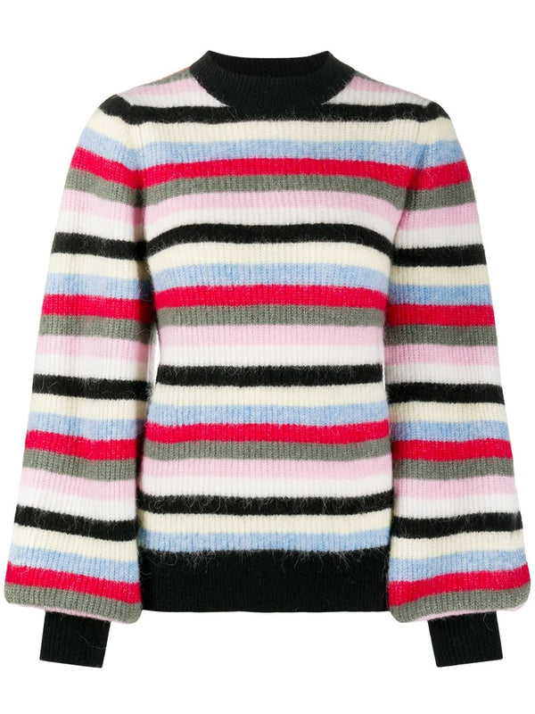 Ganni Soft Wool Knit Stripe Crewneck - Multicolor @ Hero Shop