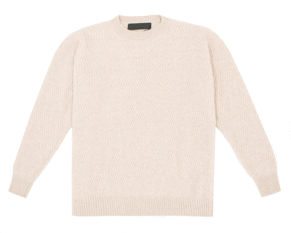The Elder Statesman Zig Zag Crewneck - Ivory @ Hero Shop