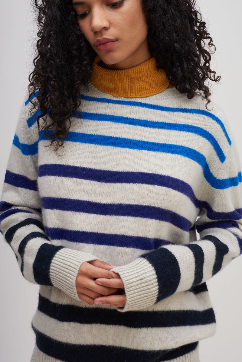 The Elder Statesman Horizon Stripe Simple Crew @ Hero Shop