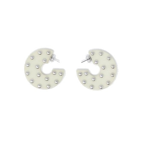 Rachel Comey Kurk Hoop Earrings - Vanilla Studded @ Hero Shop SF