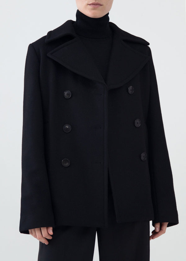 Co. Double Breasted Short Coat - Black @ Hero Shop