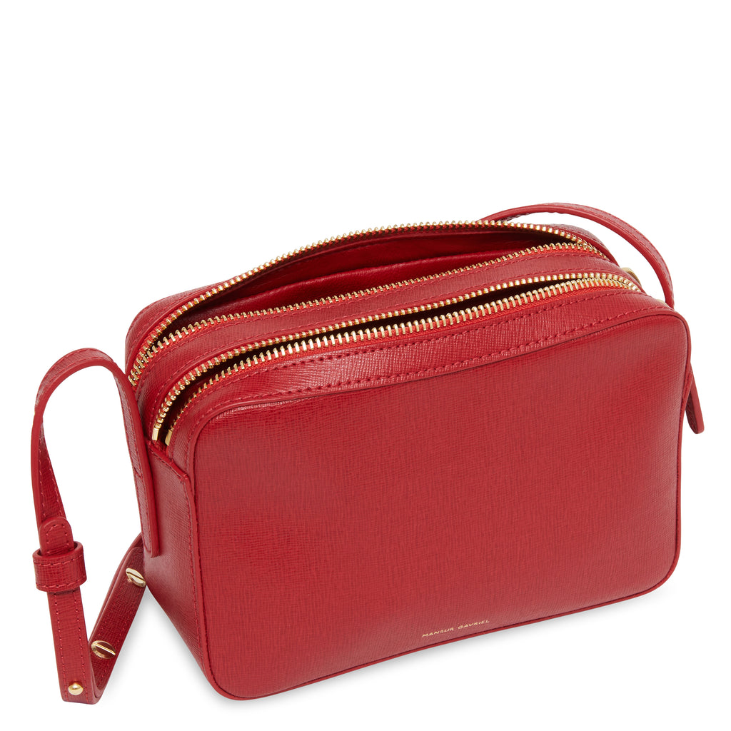 Mansur Gavriel Double Zip Crossbody - Red