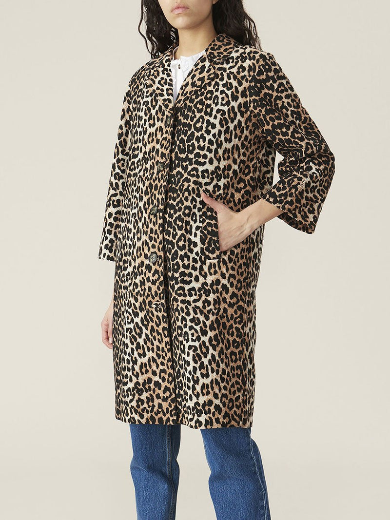Ganni Linen Canvas Jacket - Leopard @ Hero Shop SF