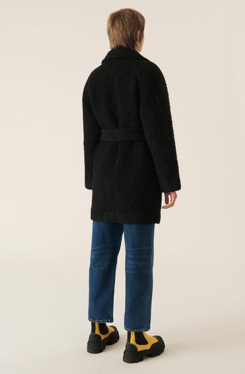 Ganni Boucle Wool Coat - phantom @ Hero Shop