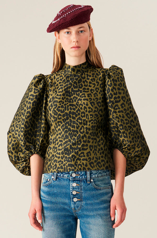Ganni Crispy Jacquard Puff Sleeve Top @ Hero Shop