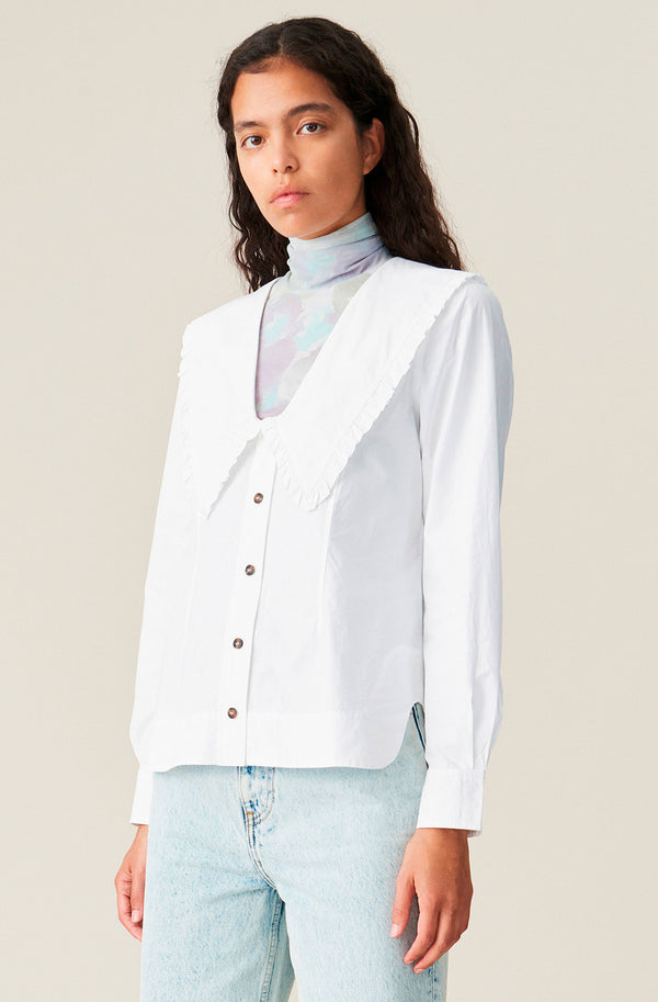 Ganni Cotton Poplin Collar Top @ Hero Shop