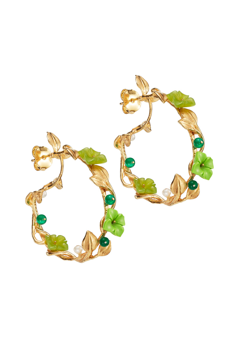 Of Rare Origin Jade Mini Hoop Floral Earring