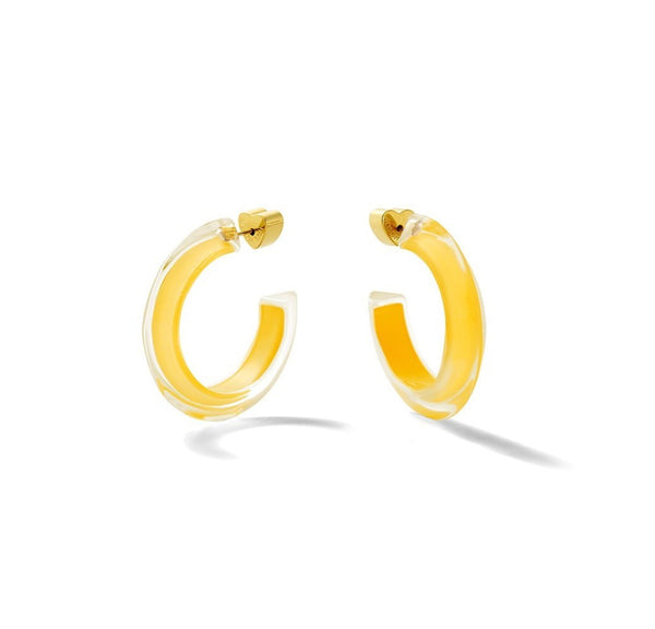 Alison Lou Small Jelly Hoops - Mustard @ Hero Shop SF