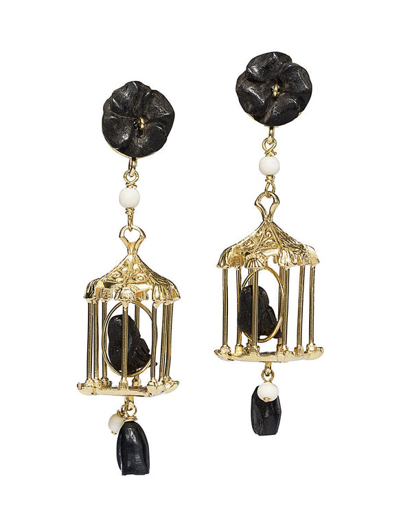 Of Rare Origin Pagoda Earrings - Onyx @ Hero Shop SF