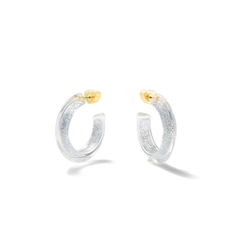 Alison Lou Small Jelly Hoops - Silver Glitter @ Hero Shop SF