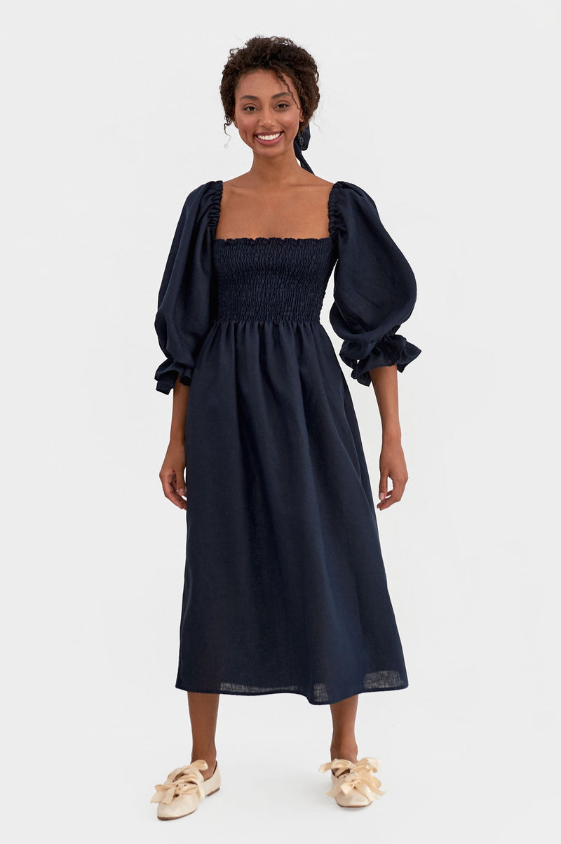 Atlanta Linen Dress - Navy