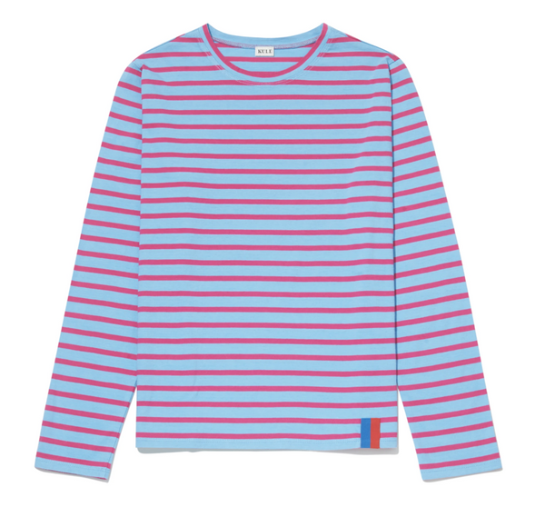 Kule The Modern Long Shirt - Light Blue & Magenta
